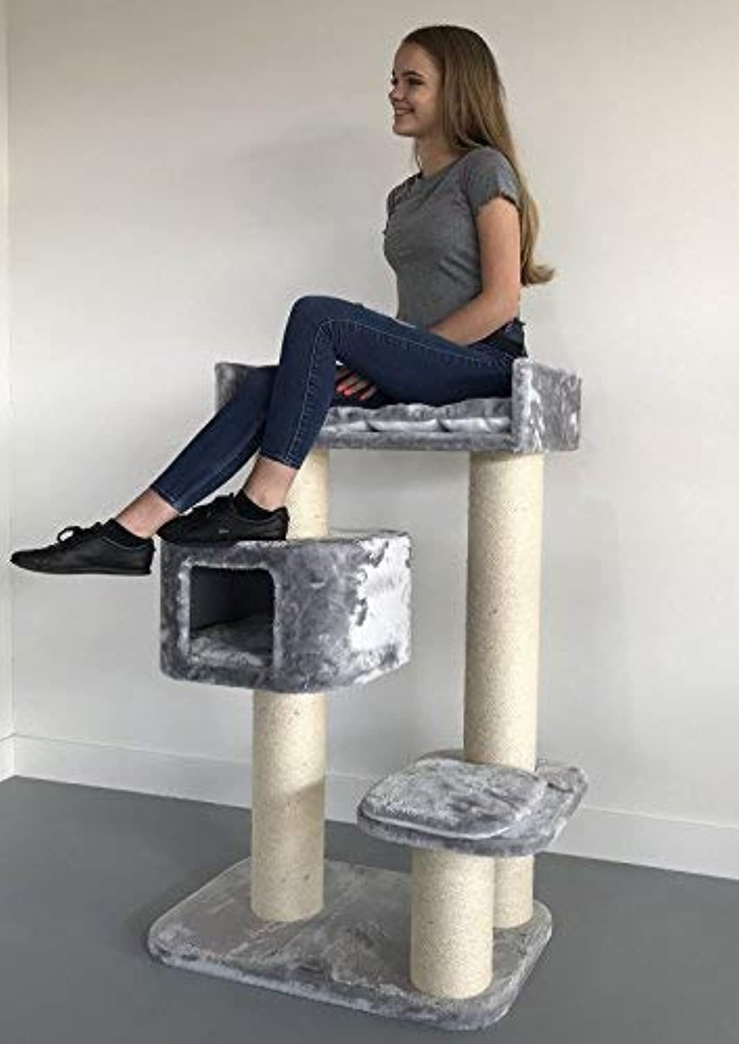 Cat tree for large cats Devon Rex Light Grey XXL extra big breed trees scratch post and adult towers Furniture scratcher activity centre