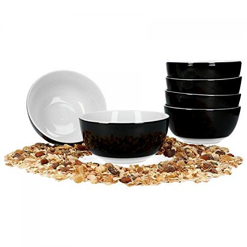 Van Well 6er Set Müsli- Salatschale Serie Vario Porzellan - Farbe wählbar, Farbe:schwarz