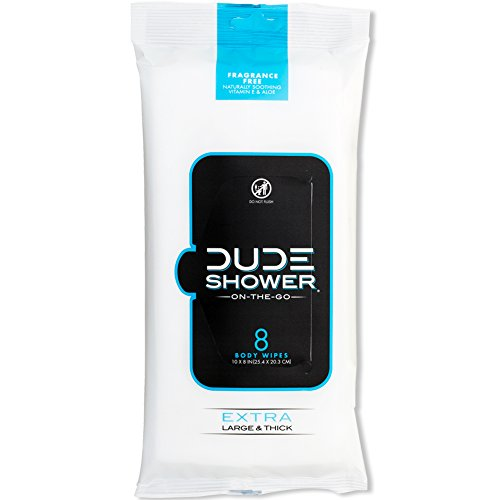 DUDE Shower Body Wipes Unscented Naturally Soothing Aloe and Hypoallergenic, Portable Travel-Sized Individual Cleansing Cloths for Men, 8 Count (Pack of 1)