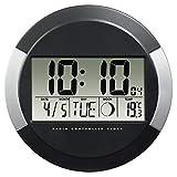 """Hama Horloge murale """"PP-245"""" (radio-pilotée DCF, pendule sans tic tac, numérique, à led, sans fil, avec des piles, format 24h, calendrier, jour, thermomètre 0°C à -50°C, pause murale ou bureau) Noir"""