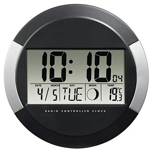 """Hama Digitale Wanduhr mit Temperaturanzeige, """"PP-245"""" (DCF Funkuhr mit Datum, Thermometer, Mondphasen, zum Aufstellen/Aufhängen, 24.5cm Durchmesser, rund) Digitaluhr, Baduhr silber/schwarz"""