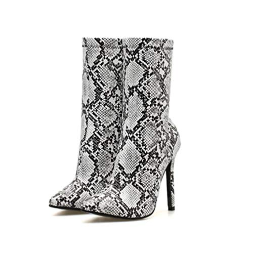 Holibanna Snakeskin High Heel Boots Zip Ankle Bootie Pointed Toe Women Fashion Shoes 24cm
