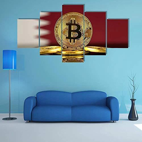 QQQAA Modern Wandbilder XXL 5 TLG 200x100cm Wanddekoration Design wandbild Wohnzimmer Wohnung Deko Kunstdrucke Fertig zum Aufhängen bereit Katar Flagge mit Bitcoins