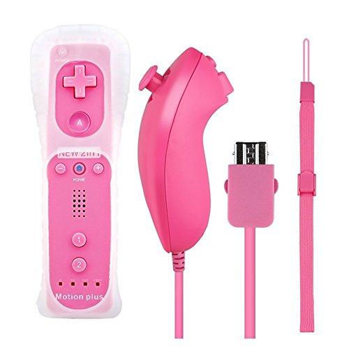 Controller per Wii U Console multigiocatore YFish, controller e telecomando, elegante, con pulsante di vibrazione, coperchio in silicone, colore: rosa