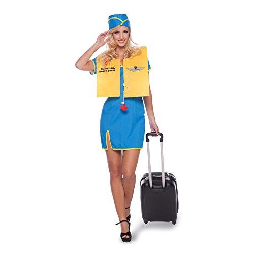 Folat 63300 Stewardess Kostüm, 3-teilig, Größe S-M, blau