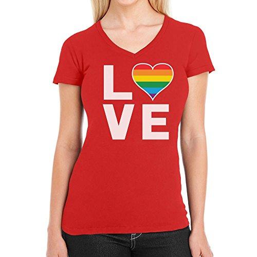 LGBT Homosexuell Gay Pride Regenbogen Herz Love Flag Damen T-Shirt V-Ausschnitt X-Large Rot
