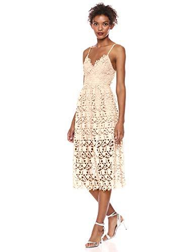 ASTR the label Women's Sleeveless Lace Fit & Flare Midi Dress, Buttercream, M