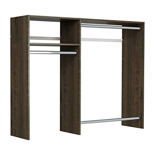 Easy Track Hanging Closet Wardrobe Storage Clothing Organizer Rod Rack System Kit for Bedroom Truffle