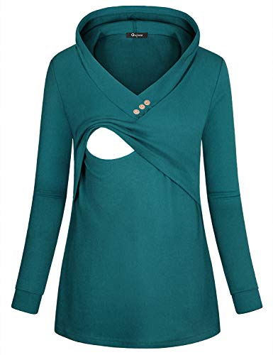 Quinee Cute Maternity Tops, Women Workout V Neck Pullovers Nursing Sweatshirts Casual Breastfeeding Shirts Misses Warm Long Sleeve Comfy Pregnancy Hoodies Fall Clothes Dark Cyan XL