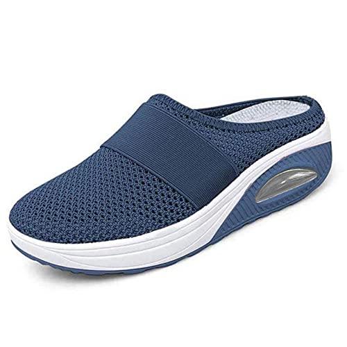 ergou Zapatillas de senderismo para mujer, transpirables, con soporte de arco para exteriores, de punto, informales, ortopédicas, para diabéticos (azul, 8)