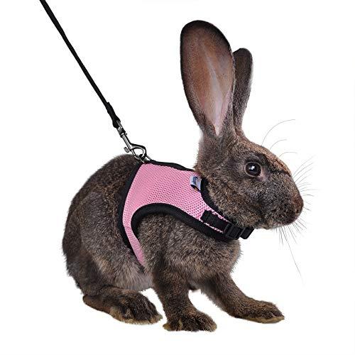 Niteangel Adjustable Soft Harness with Elastic Leash for Rabbits (M, Pink)
