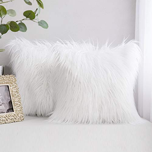 AerWo Fur Throw Pillows Fluffy Pillow Covers, Set of 2 Faux Mongolian Style Plush Cushion New Luxury Series Merino Style Decorative Pillows Case for Couch Bed Living Room Car Chair, 18' x 18', White