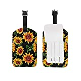 YhouqukehTshirt Travel Luggage Tag Watercolor Wildflower Sunflower PU Leather Baggage Suitcase Tag Identify Label Set Of 2