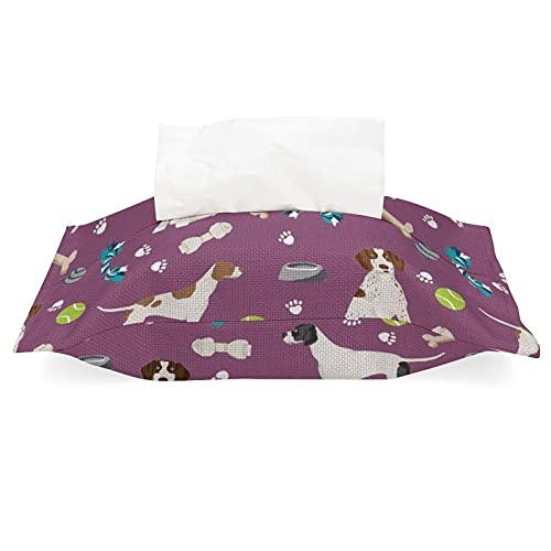 Funda de pañuelos para bolsas de pañuelos, soporte para servilletas, puntero inglés, perros y juguetes, tela morada, lino de algodón, desmontable, dispensador de pañuelos para casa, oficina, coche