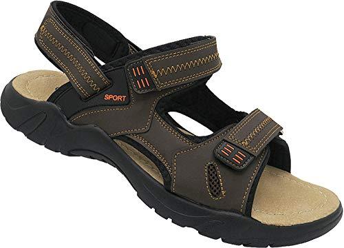 Herren Sandalette Übergröße Outdoorsandale Schuhe Trekking Sandale gr.47-50 Art.Nr.9909 (d.braun, 48)