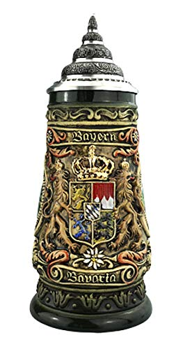 KING Jarra de Cerveza Alemana Baviera, Jarra 0,4 litros, rústico, Colorido, Pintado...
