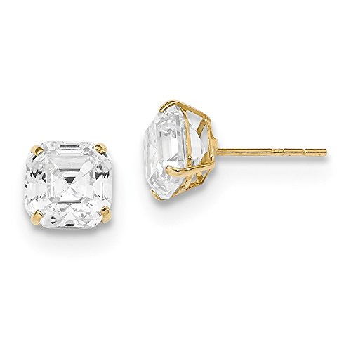 14k Yellow Gold 7x7 Asscher Cut Cubic Zirconia Cz Studs Post Stud Earrings Fine Jewellery For Women Mothers Day Gifts For Her