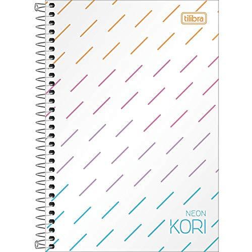 Caderno Espiral Capa Plástica 1/4 Pequeno sem Pauta, Tilibra, Neon, 302775, 14x20cm, Kori, 80 Folhas
