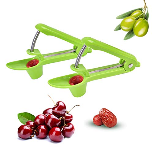 Qukpa 2 PCS Cherry Pitter Olive Pitting Tool Pit Remover Red Dates Pitter Easy Safe Kitchen Tool with Lock Design 2 Green