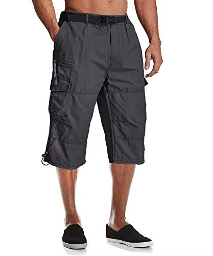 MAGCOMSEN Work Shorts for Men Cargo Shorts for Men Below Knee Shorts Elastic Waist Camping Shorts Hiking Shorts Long Shorts Outdoor Shorts 3/4 Capri Pants Grey