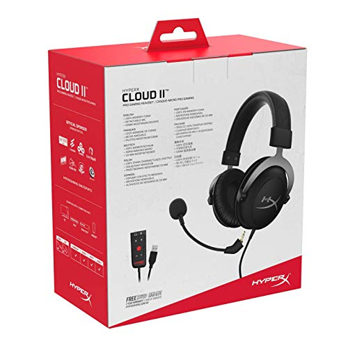 HyperX KHX-HSCP-GM Cloud II - Cascos de Gaming para PC/PS4/Mac, color gris