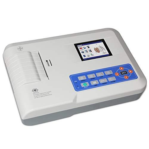 AIESI® Electrocardiografo portatil profesional 3 canales con interpretación ECG300G con software para conexión a PC y impresora térmica integrada de alta resolución # Garantía 24 meses