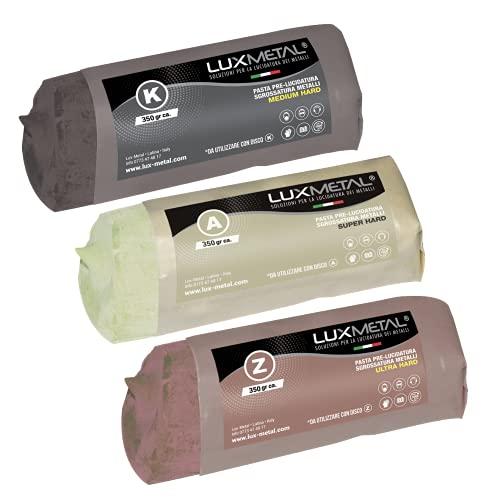 Lux Metal - Kit de 3 pasta de lijado para pulir y desbastar (350 gramos, ultra super medium HD), elimina arañazos, óxido y óxido para aluminio, acero inoxidable, latón, cobre y bronce
