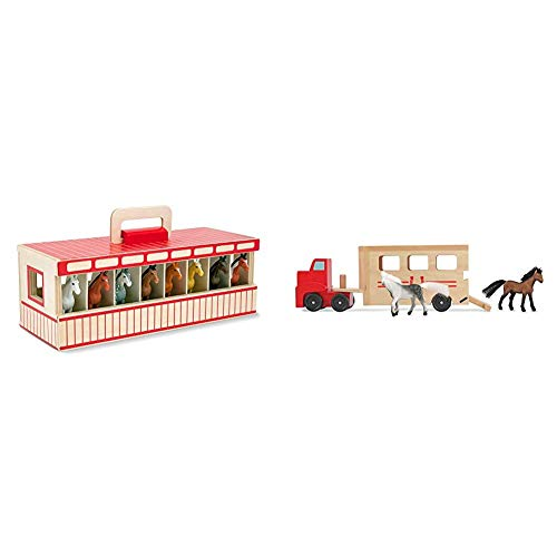 Melissa & Doug Take-Along Show-Horse Stable Play Set (Best for 3, 4, 5 Year Olds and Up) & Horse Carrier Wooden Vehicle Play Set (Tractor-Trailer Truck Toy, Best for 3, 4, and 5 Year Olds)