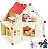 rcee Puppenhaus Wohnhaus Puppenvilla aus Holz möbliert mit 4 Puppen und 9 Möbel, tragbar mit Tragegriff, Mädchen Spielzeug, Natur