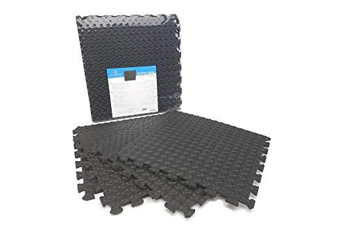 Baldosa de Espuma de Puzzle Suelo Goma EVA Color Negro 45x45 (4 PZAS) | Alfombra Puzzle Negro
