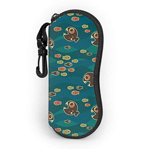 Dedesty Piranha Eats Small Fish Men's and Women's Personality Durable Portable Custodia per gli occhiali Sunglasses Astuccio per occhiali Zipper Hard Shell Scatola per occhiali with Hook