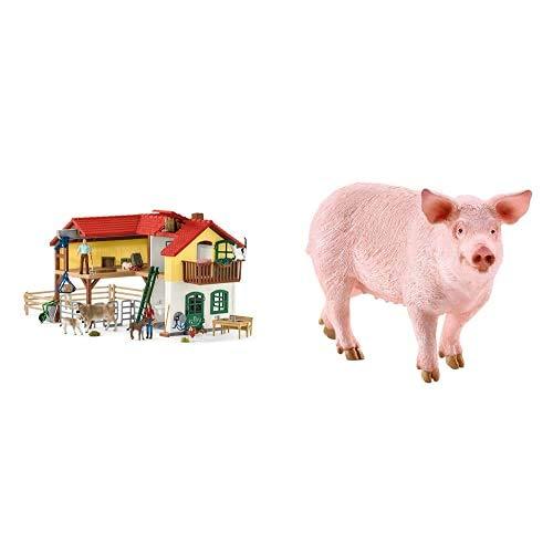 Farm WORLD-42407 Granja con establo y Animales, Multicolor, Large (Schleich 42407) + Schleich Figura Cerdo, Color Rosa, 5,5 Cm