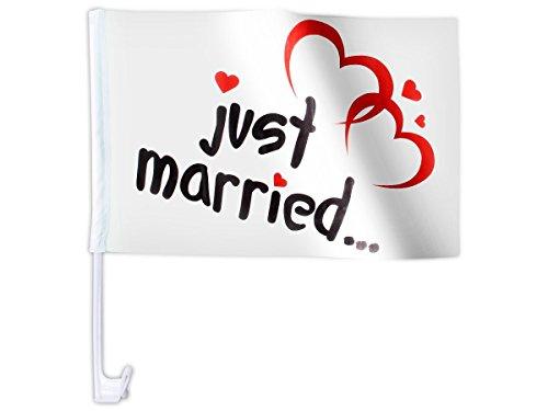 10 STK. Alsino Autoflagge AFL-10 Autofahne für die Hochzeit \'Just Married\' Auto Flagge Fahne