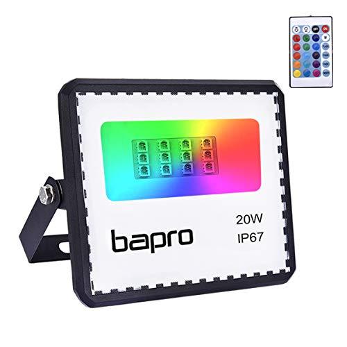 20W RGB Foco LED con Control Remoto, Foco Proyector Exteriores Interior IP67 Impermeable LED Reflecto 16 colores 4 modos Luces de Humor para Fiesta Jardín Halloween, Decoración Navideña