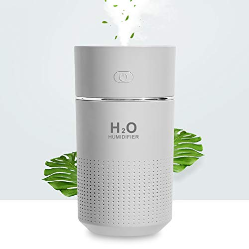 Portable Mini Humidifier,360ml Small Cool Mist Humidifier with 7-Color LED Night Light,USB Personal Desk Humidifier for Bedroom,Whisper Quiet Air Humidifier for Car Babies Room Office Travel(Grey)