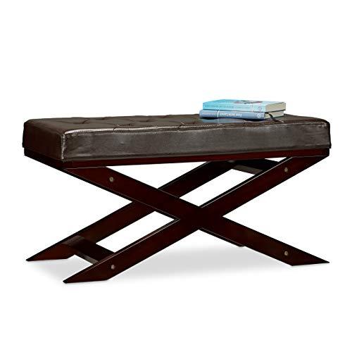 Relaxdays Sitzbank mit Polster ohne Lehne, aus Holz und Kunstleder, Zweisitzer, HxBxT 40 x 76 x 38, braun