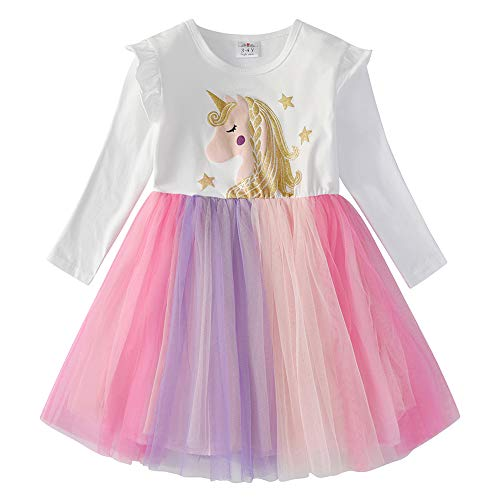 VIKITA Mädchen Sommer Blume Kurze Ärmel Baumwolle Freizeit Kleid LH4992 6T