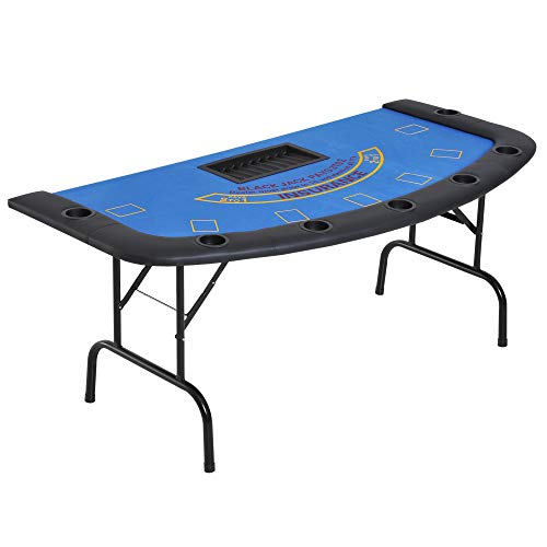 "Soozier 72"" Foldable 7-Player Poker Blackjack Table with Chip&Cup Holder - Blue Felt"