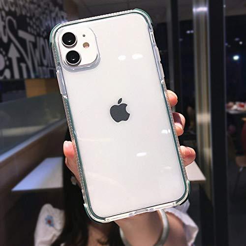 AAA&LIU Funda de teléfono Transparente Simple a Prueba de Golpes para iPhone 11 Pro MAX X XS XR XS Funda Trasera de protección de TPU Suave MAX para iPhone 7 8 Plus, Verde, para iPhone 8