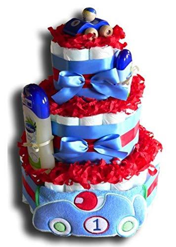 Tarta de pañales mágica de coche de carreras para niños, niñas o neutro, regalo para baby shower, bautizo, nacimiento, regalo