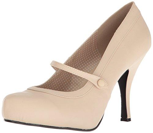 Pleaser Chaussures à Plateforme Pinup-01 pour Femme. - Beige - Cuir synthétique Couleur crème, 48 EU