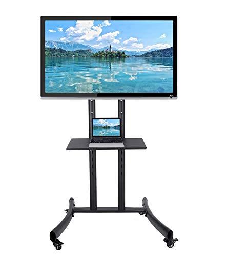 CO-Z Mobiler Standfuß TV Ständer Stand TV Standfuss mit Rollen für LCD, LED, Plasma Fernseher Bildschirme 81cm bis 165cm (32''bis 65''), höhenverstellbar mit Halterung und abschließbaren Rädern