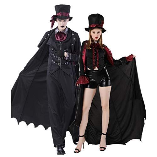 Disfraz de vampiro de Halloween para adultos, masculino y femenino, disfraz de disfraces de terror Earl (color: negro mujer, tamao: XL)