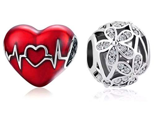 Marni's - 2 Charms Pandora Style, un Corazón Rojo y una Bolita con Flores| Regalos originales San Valentin | Colgantes mujer | Compatibles Pulsera Pandora Charm Plata de Ley | Regalos para novia