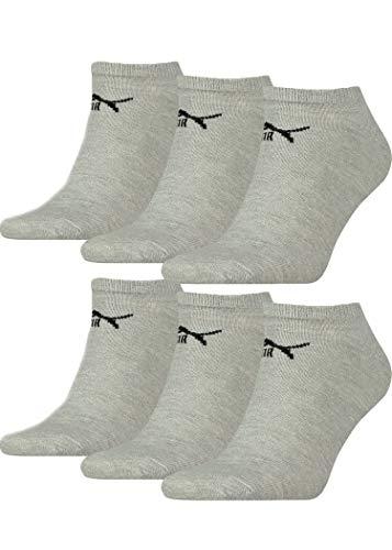 Puma 6 Pairs Unisex Sneaker Trainer Sports Socks Grey 2 1/2-5 (35-38)