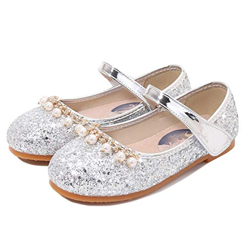 Fanessy Zapatos de Princesa para niñas Zapatos de Banquete Zapatos de Baile para niños de Tango Latino Fiesta de Carnaval de Halloween Cosplay Lentejuelas Zapatos de Cristal Zapatillas de Perl