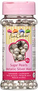 FunCakes Decoraciones de Perlitas de Azúcar Color Plata Metalizada de 8mm de Grosor para Decorar Tartas, Cupcakes, Galletas, Helados y otros Dulces 80g G42725