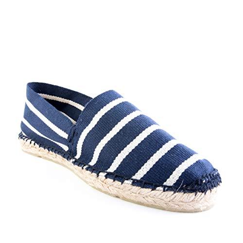 MAISON LQ Espadrilles for Women - Canvas Slip on Shoes for Women, Chic Flats Handmade in France (Blue Stripe, US 7, EU 38)…