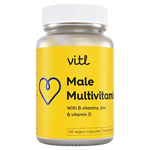 VITL Male Multivitamin | an Everyday Blend of Vitmains and Minerals Designed to Support Men's General Health and Wellbeing | 30 Vegan Capsules