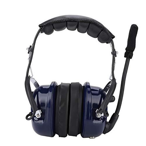 FOLOSAFENAR Auriculares para Colocar sobre la Cabeza Cable en Espiral Auriculares de aviación PTT con Domo de Oreja de 3,5 mm para radios Resistentes